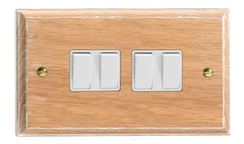 Varilight XK9LOW Kilnwood Limed Oak 4 Gang 10A 1 or 2 Way Rocker Light Switch